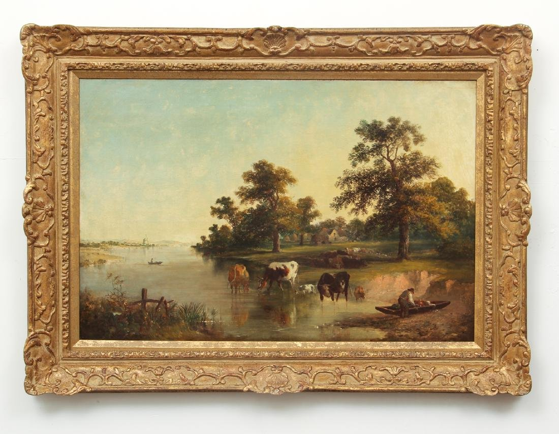 19th c. Continental School Landscape oil Coastal farm - 2