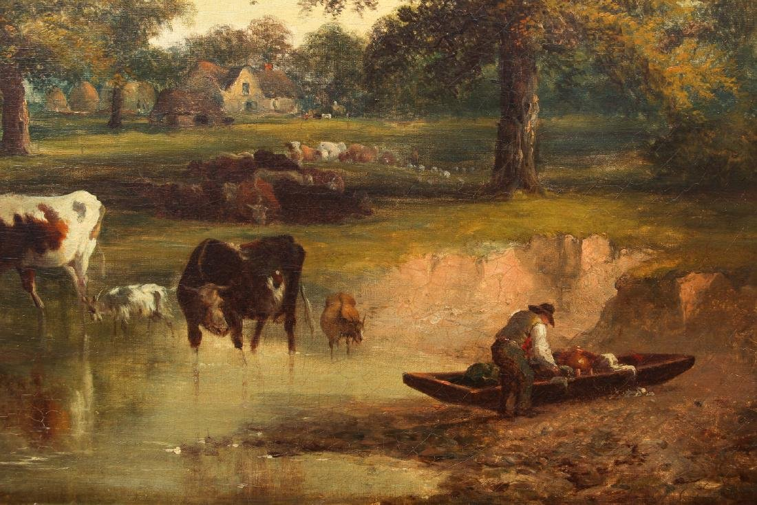 19th c. Continental School Landscape oil Coastal farm - 3