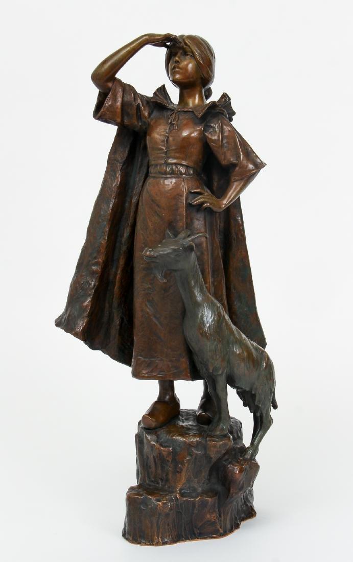 Louis Chalon Goat Herder Shepherdess Bronze