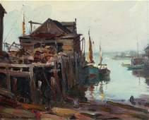 Emile Albert Gruppe oil Gloucester Fishing Dock