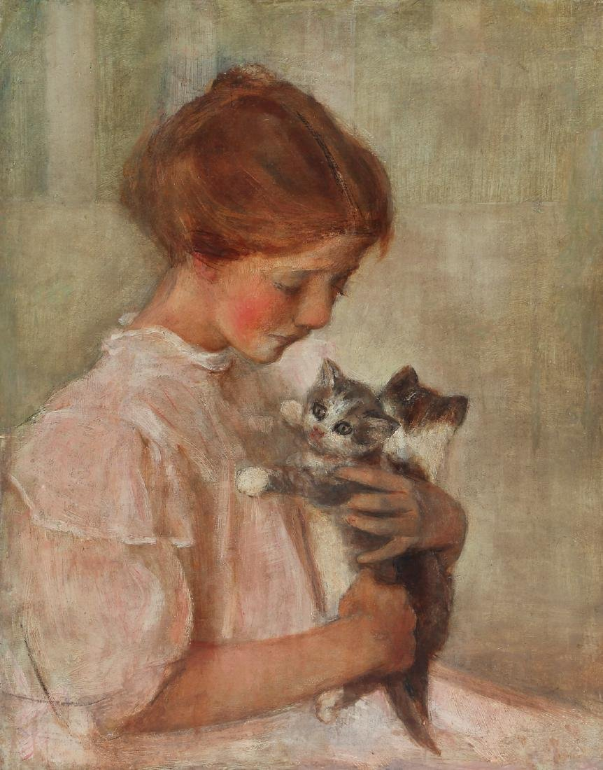Edith Prellwitz ptg. Girl with Kittens