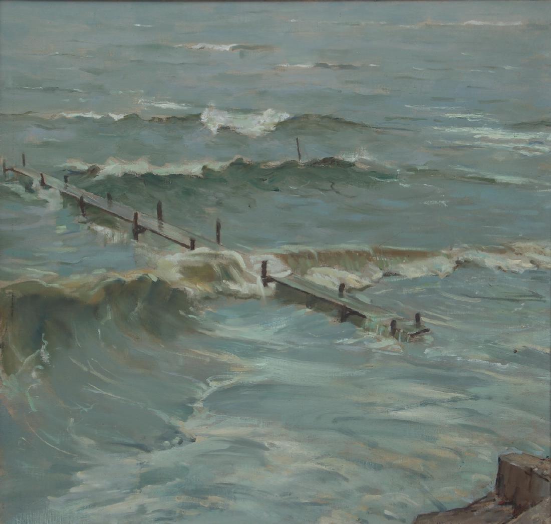 Henry Prellwitz oil Stormy Coastal Seascape, N.Y.