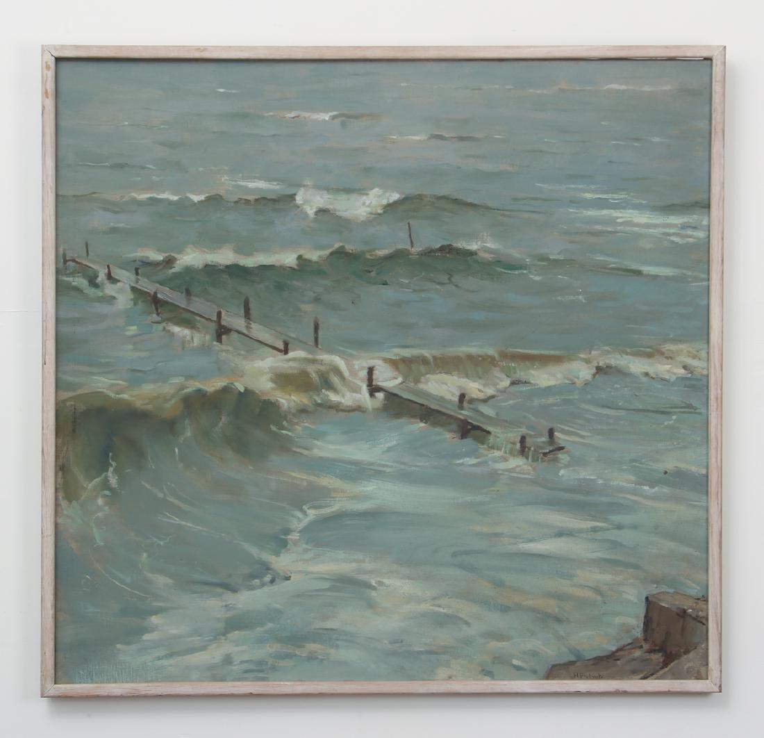 Henry Prellwitz oil Stormy Coastal Seascape, N.Y. - 2