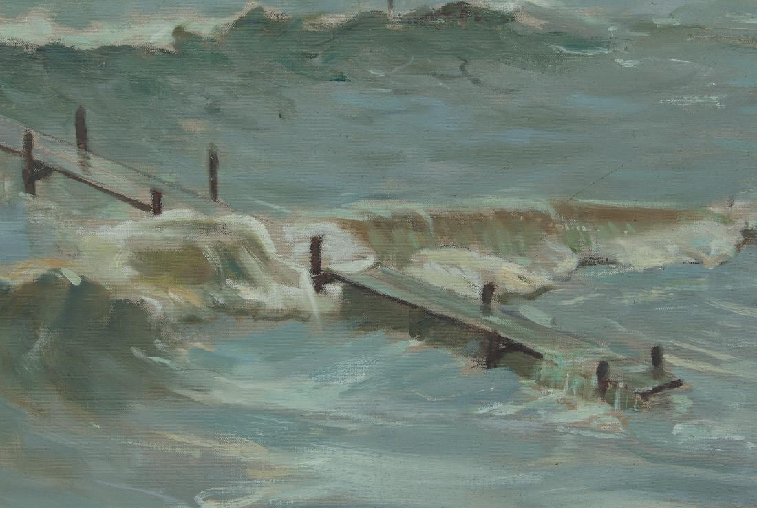 Henry Prellwitz oil Stormy Coastal Seascape, N.Y. - 4