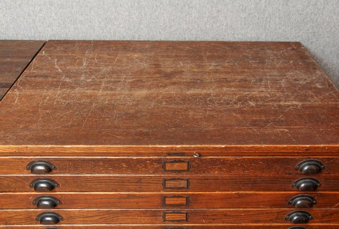 Pair of Antique Oak Ten Drawer Print File Cabinets - 2