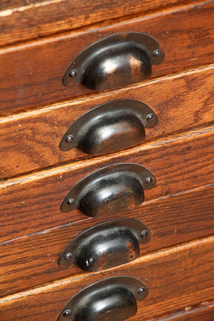 Pair of Antique Oak Ten Drawer Print File Cabinets - 4