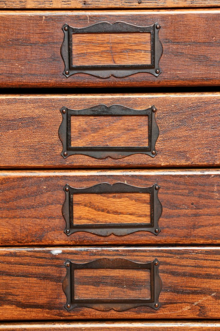 Pair of Antique Oak Ten Drawer Print File Cabinets - 5