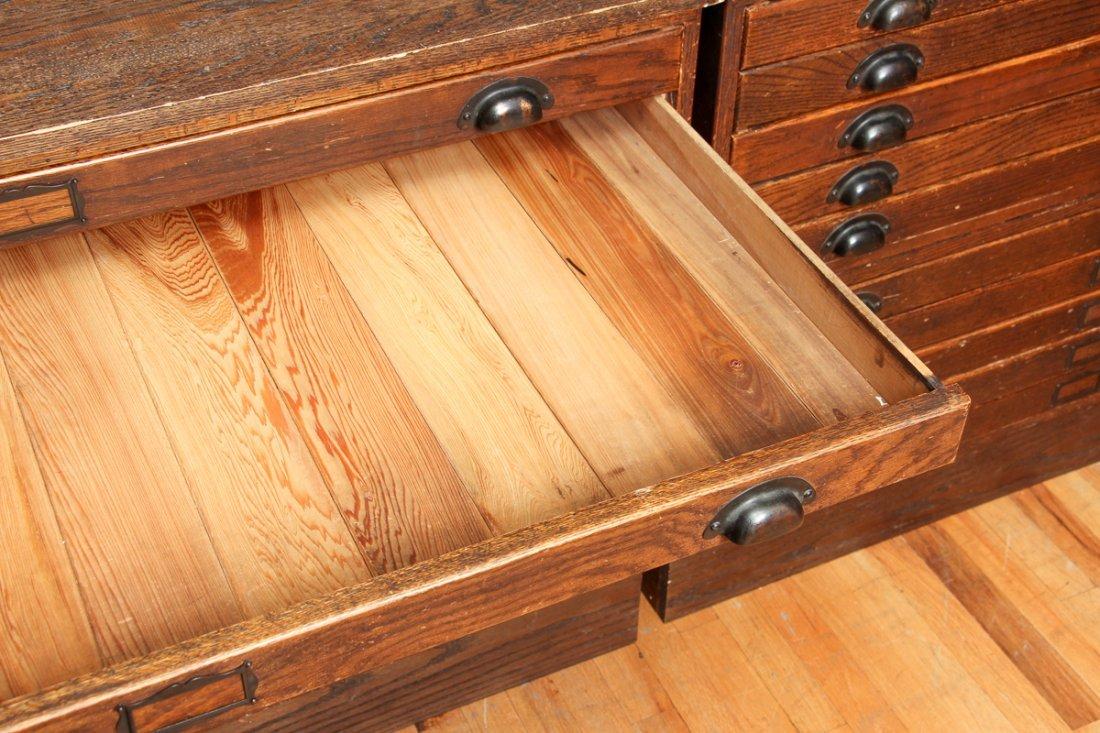 Pair of Antique Oak Ten Drawer Print File Cabinets - 6