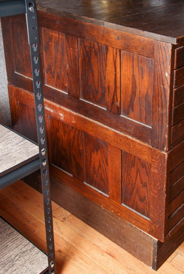 Pair of Antique Oak Ten Drawer Print File Cabinets - 7