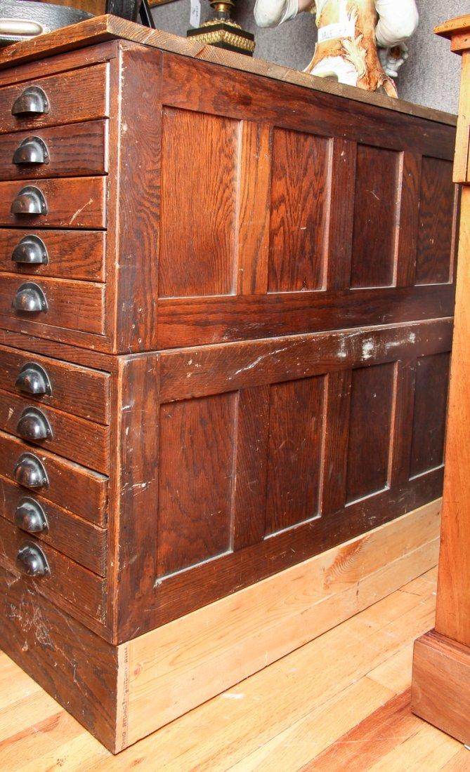 Pair of Antique Oak Ten Drawer Print File Cabinets - 8