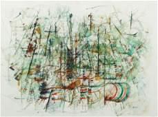 Max Barth Untitled Abstract watercolor circa 1955