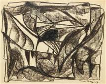 Werner Philipp charcoal drawing Cubist Composition