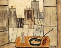 Claude Venard 1950's oil Paris Window Still Life