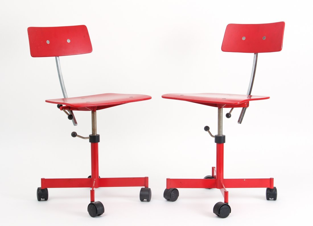 Two Red Kevi of Copenhagen Mid Century Chairs