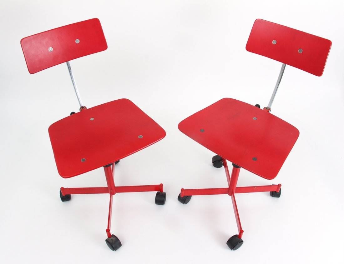 Two Red Kevi of Copenhagen Mid Century Chairs - 2