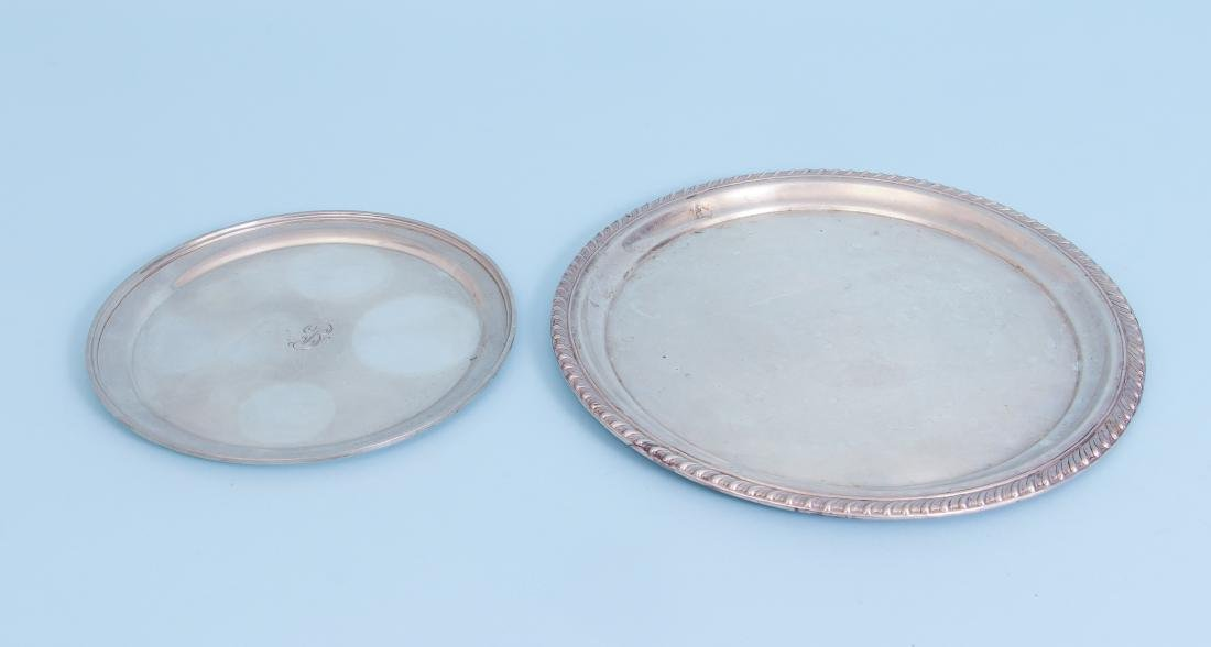 Two Sterling Silver Serving Trays