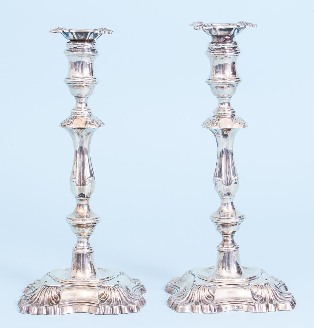 Pair of Antique English Sterling Silver Candlesticks