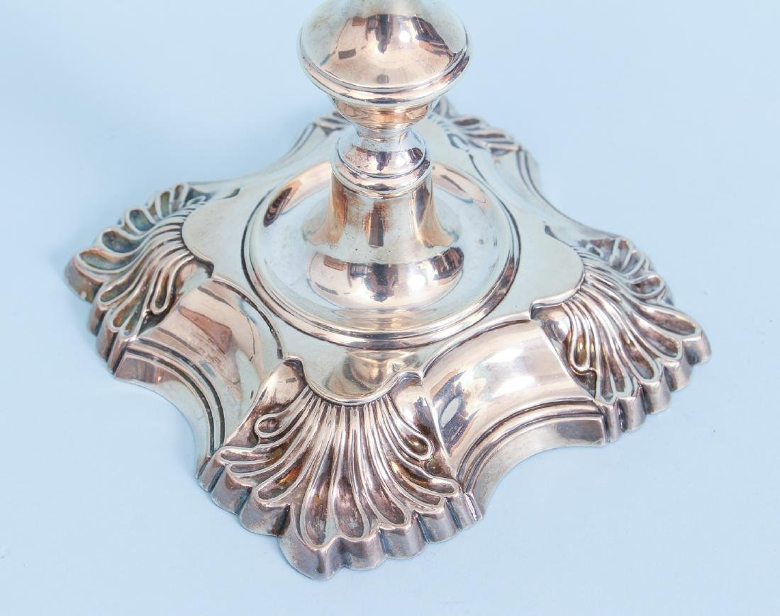 Pair of Antique English Sterling Silver Candlesticks - 7