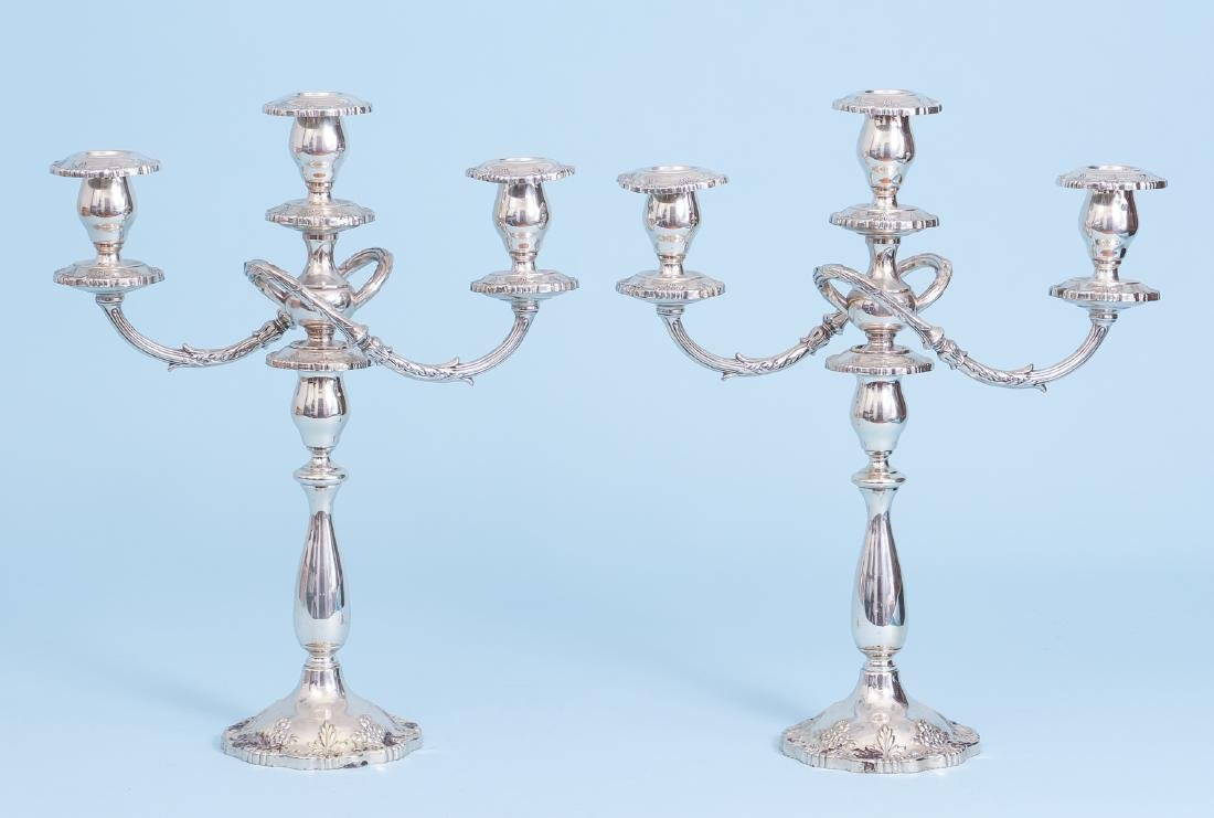 Pair of Fisher English Rose Sterling Silver Candelabra