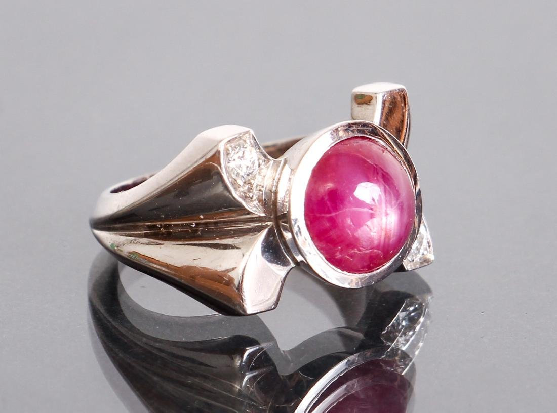 Art Deco Star Ruby Diamond and White Gold Ring