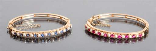 Ruby Sapphire and Pearl 14 K Gold Bracelets