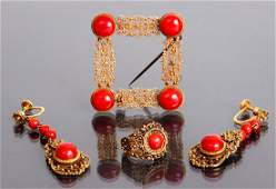 Group of Gold and Coral Jewelry