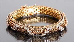 18K Gold and Diamond Italian Bracelet