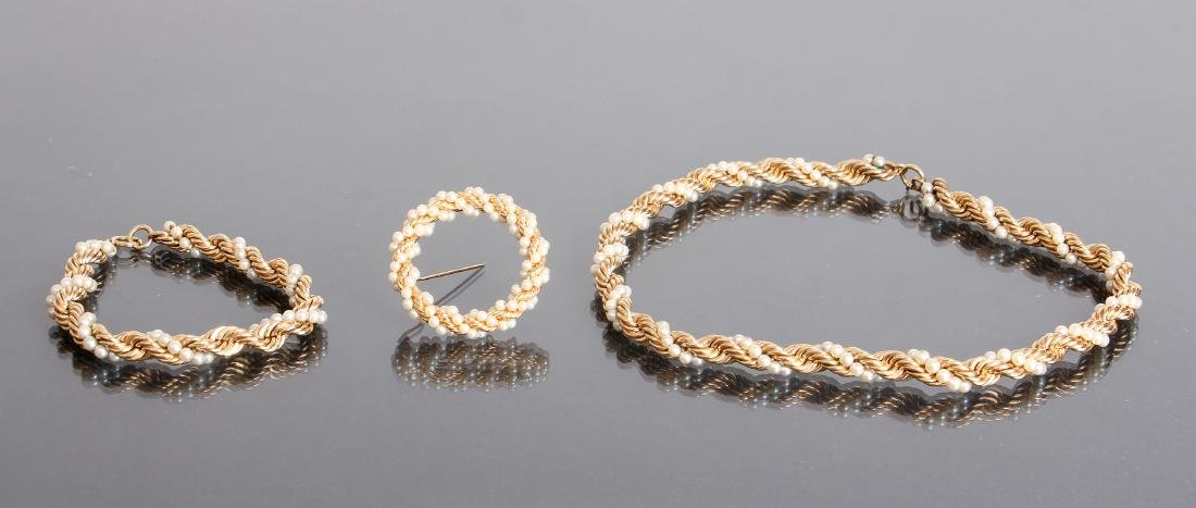 Three Piece 14K Gold and Seed Pearl Jewelry Set