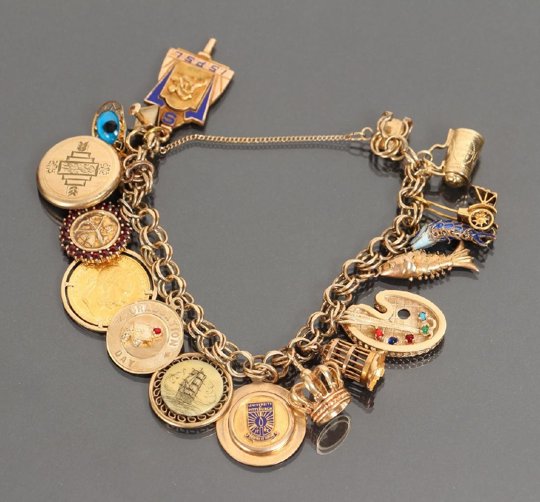 Bracelet with Miscellaneous Vintage Gold Charms