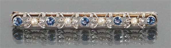 Edwardian Platinum Pearl and Sapphire Bar Pin