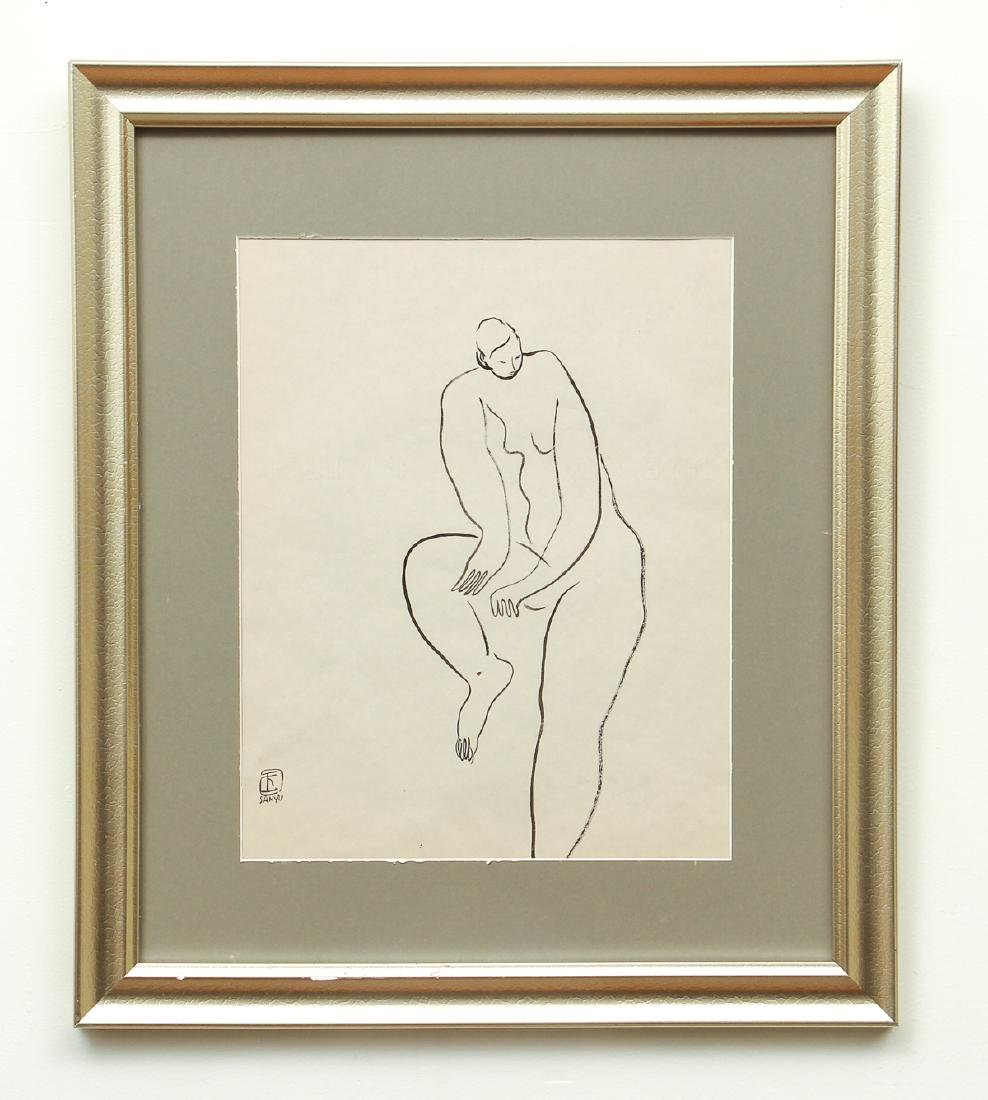 Two Chang Yu Sanyu Attributed Watercolor Drawings - 6