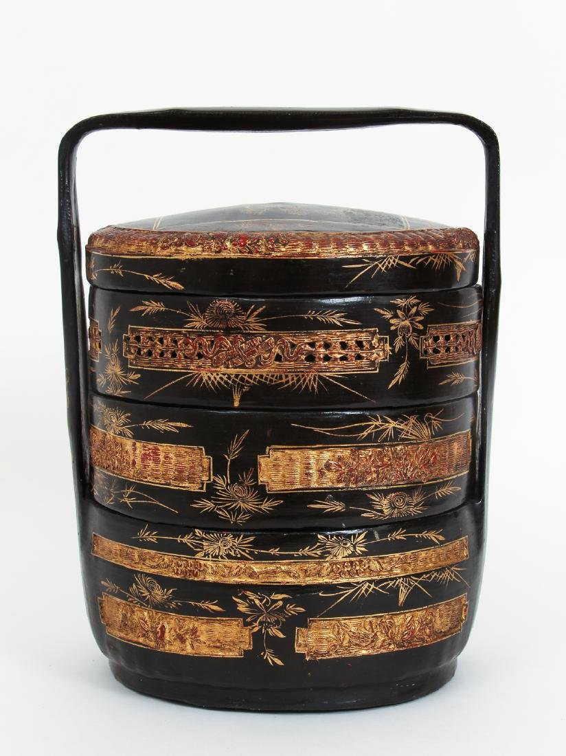 Three Section lacquered and gilded Chinese Lunch Box