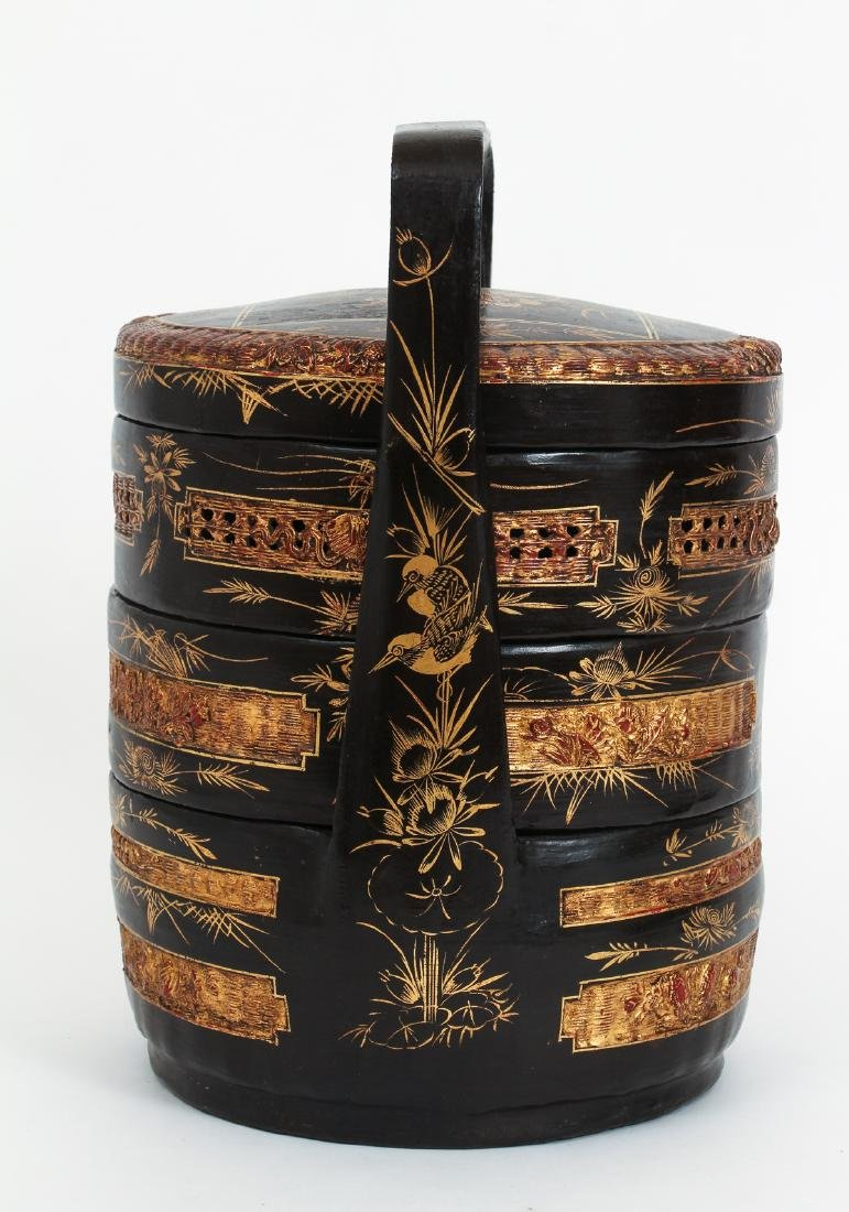 Three Section lacquered and gilded Chinese Lunch Box - 2