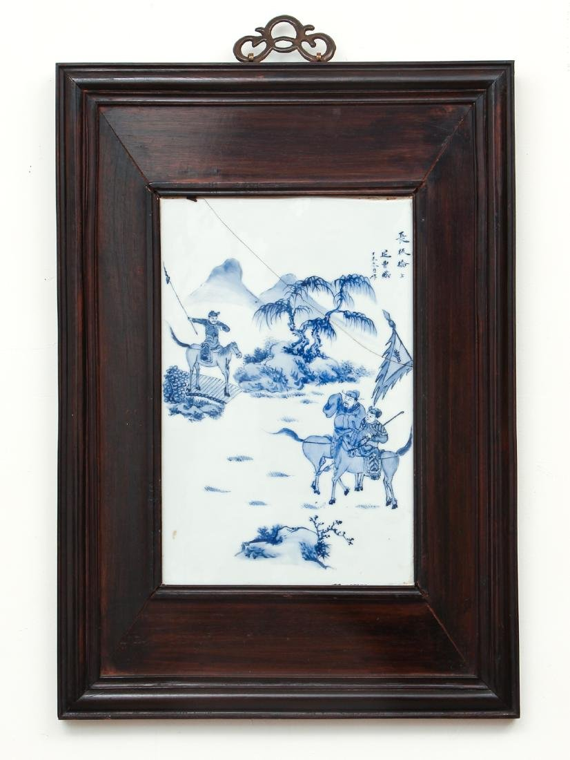4 Chinese Blue and White porcelain plaques - 4