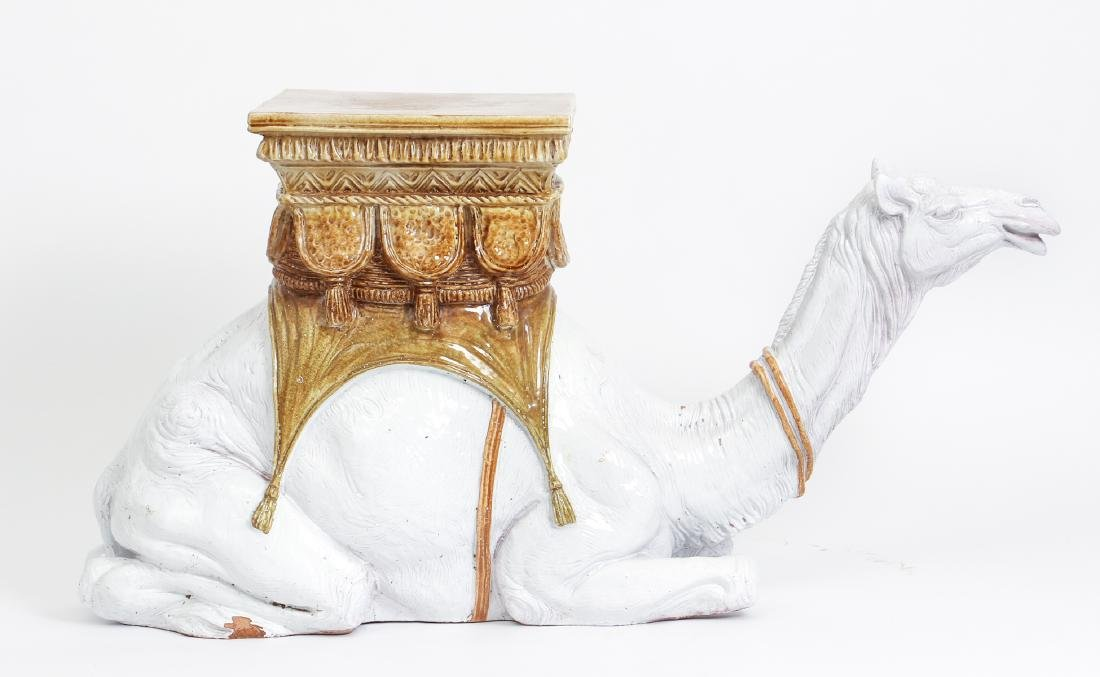 Camel Themed Italian Majolica Garden Seat - 3