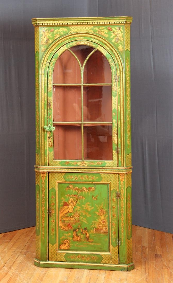Chinoserie Arched Door Corner Cupboard