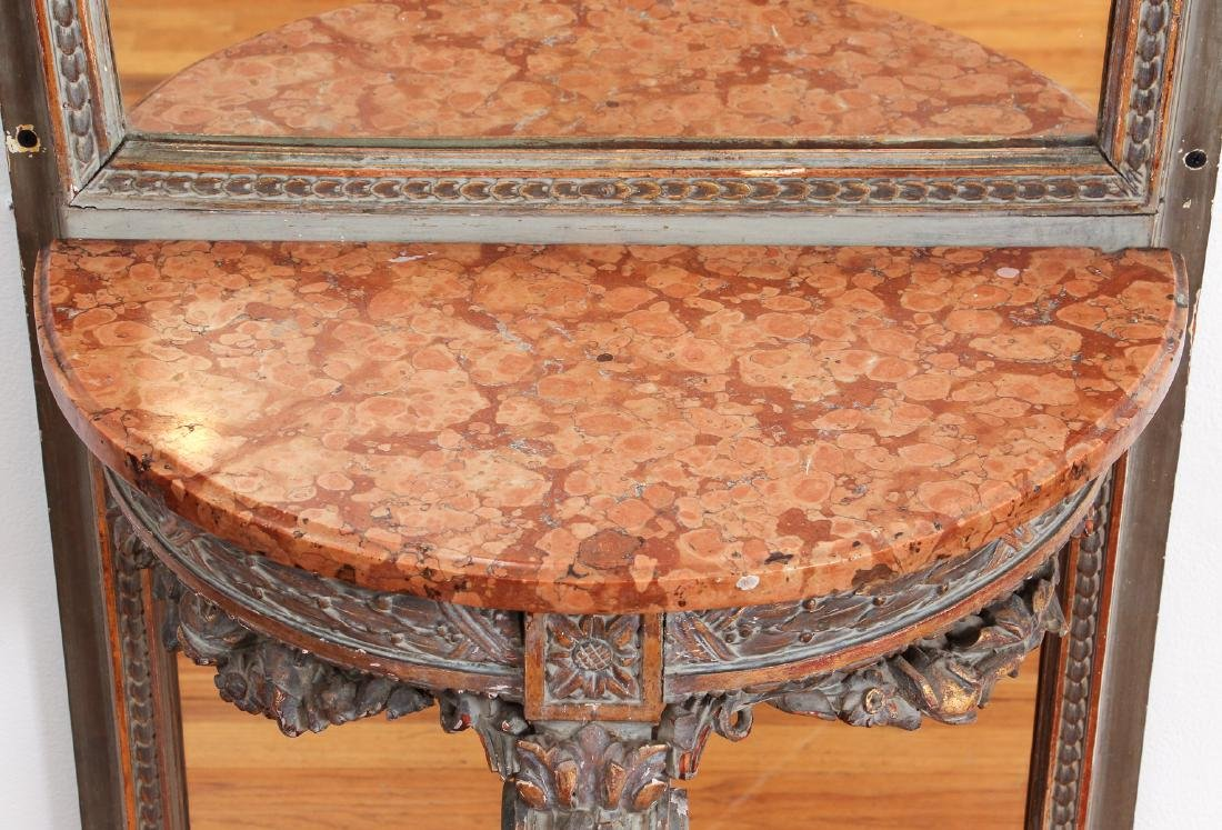 French Pier Mirror and Marble Top Stand - 8