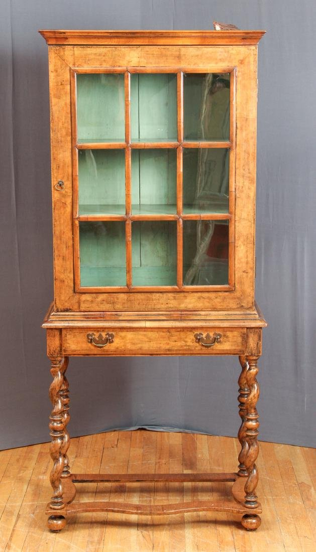 Antique Fruitwood Twist Leg Display Case