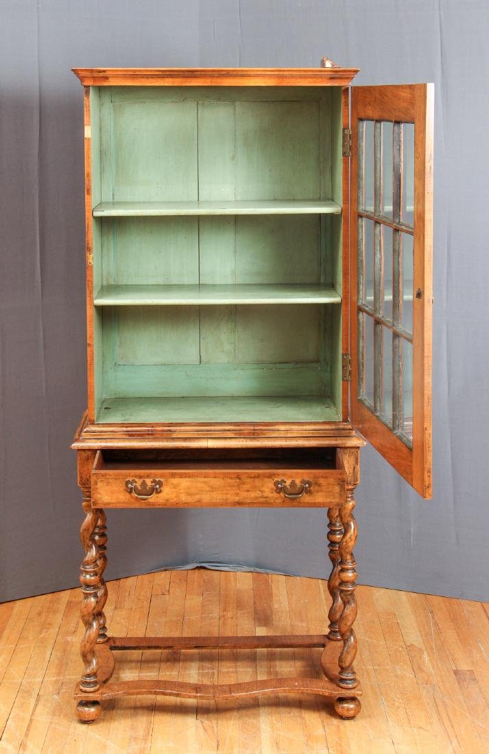 Antique Fruitwood Twist Leg Display Case - 3