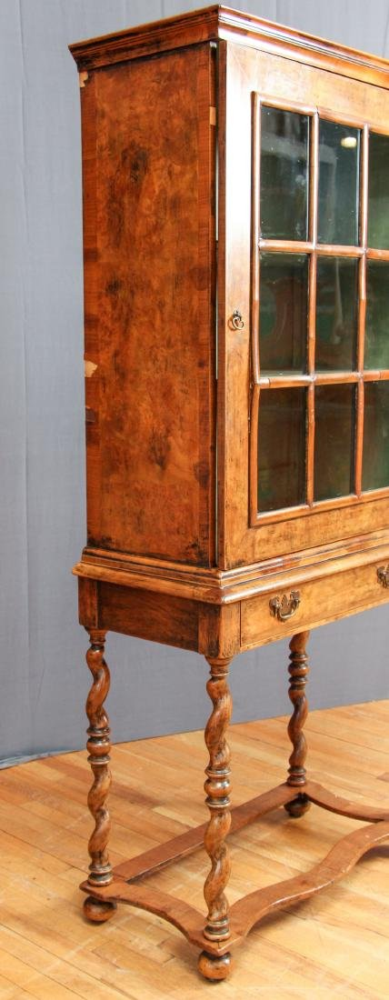 Antique Fruitwood Twist Leg Display Case - 9