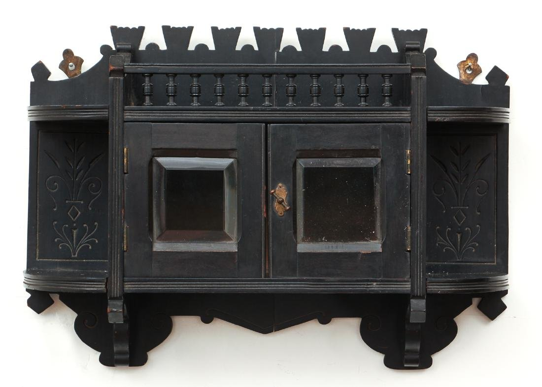 Eastlake Ebonized Wall Shelf and Cabinet