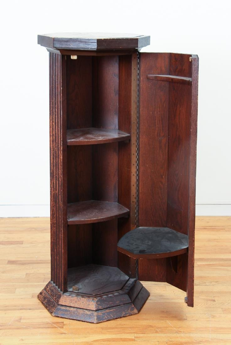 Octagonal topped Column Stand with interior Shelves