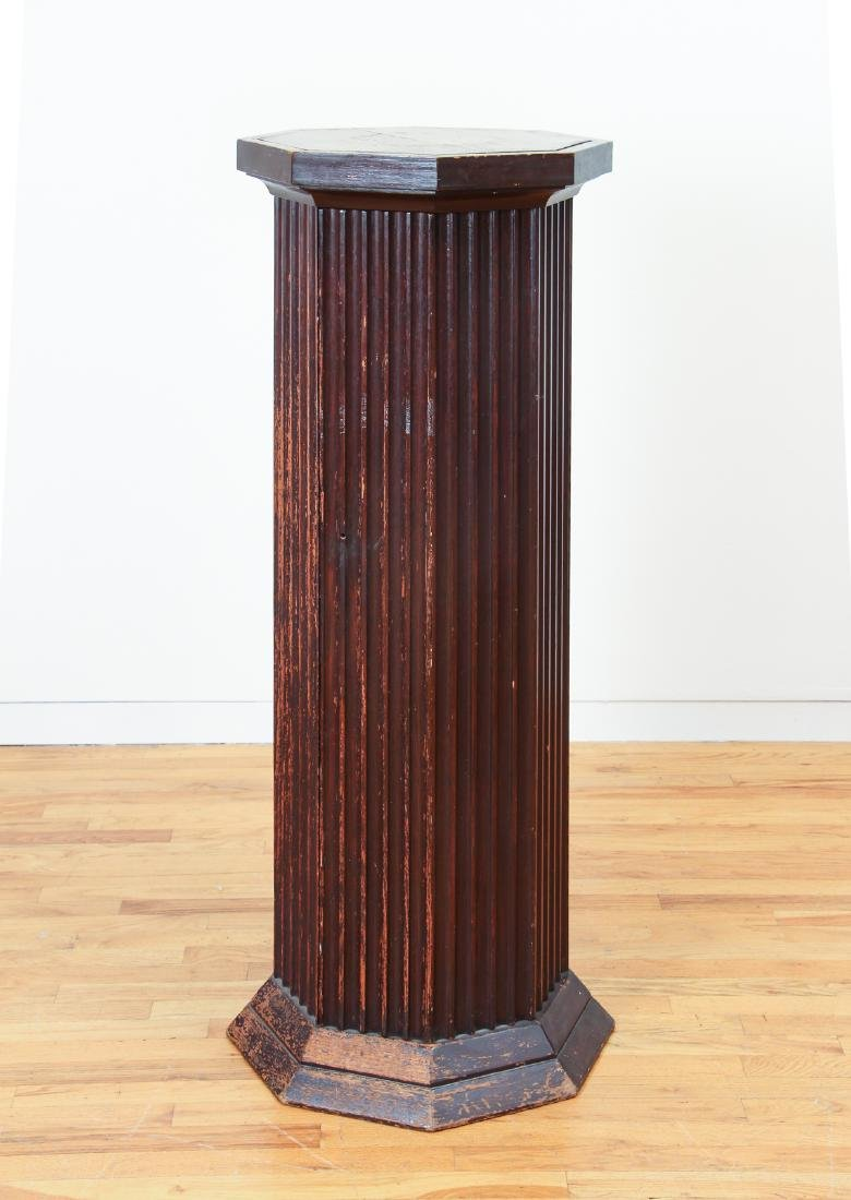 Octagonal topped Column Stand with interior Shelves - 2