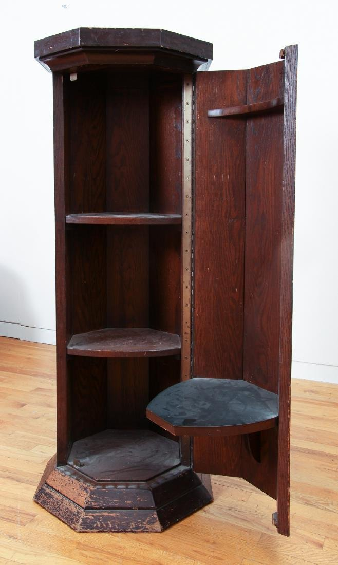 Octagonal topped Column Stand with interior Shelves - 4