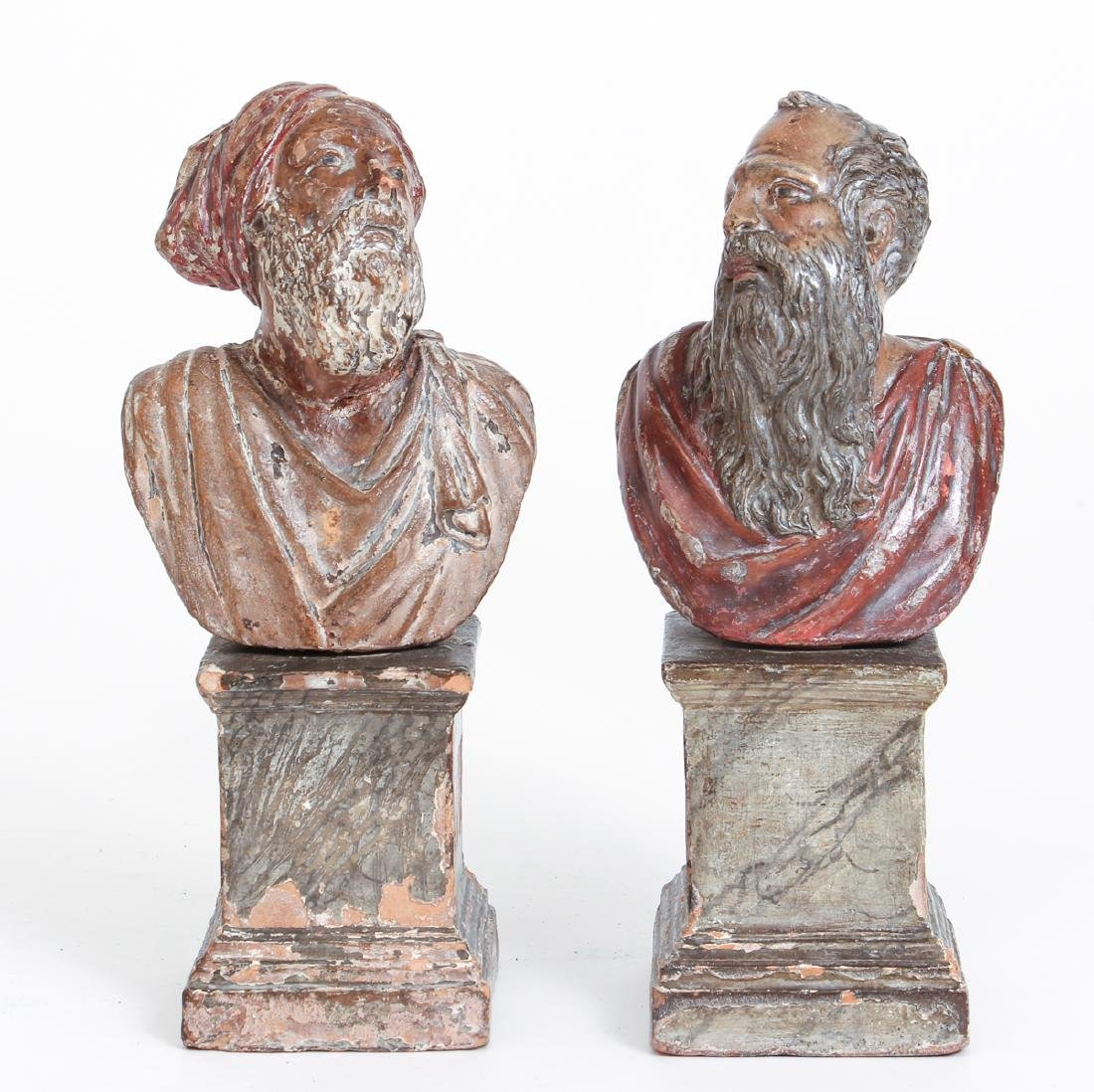 Two Antique Polychrome Continental Busts