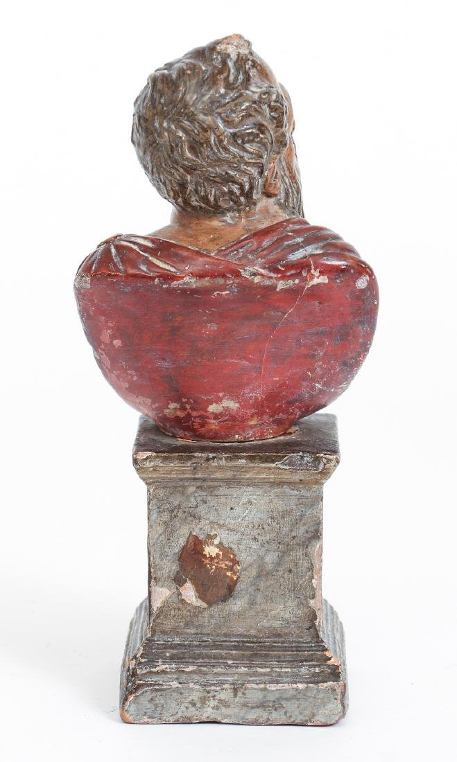 Two Antique Polychrome Continental Busts - 8