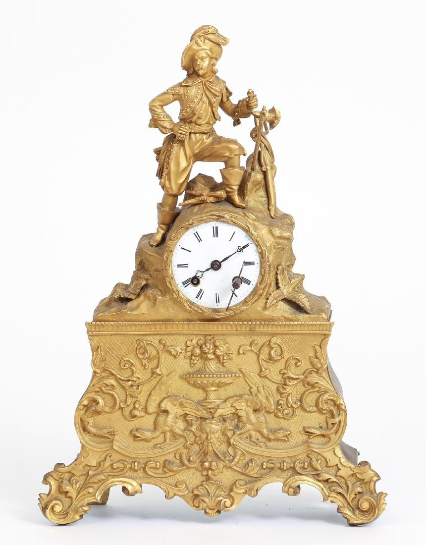 Dore Bronze French Mantle Clock with a Buccaneer