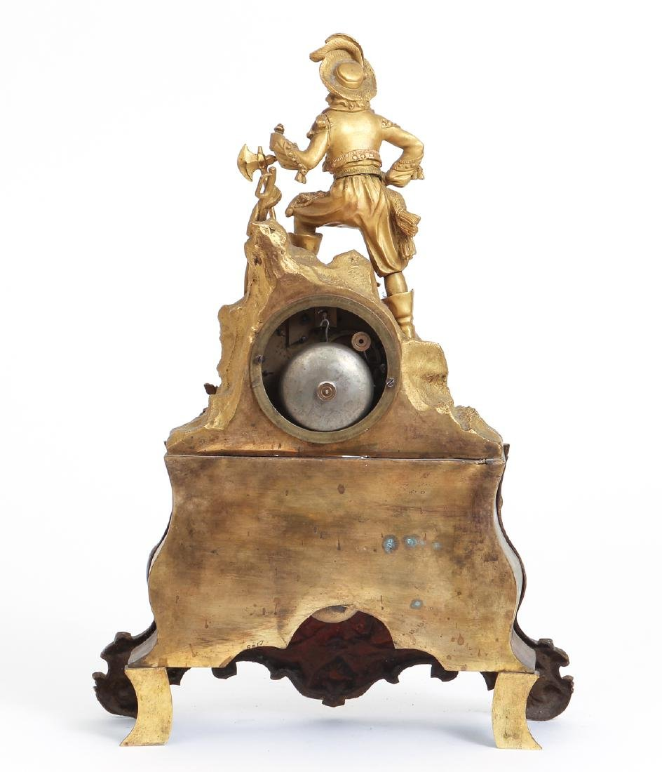 Dore Bronze French Mantle Clock with a Buccaneer - 3