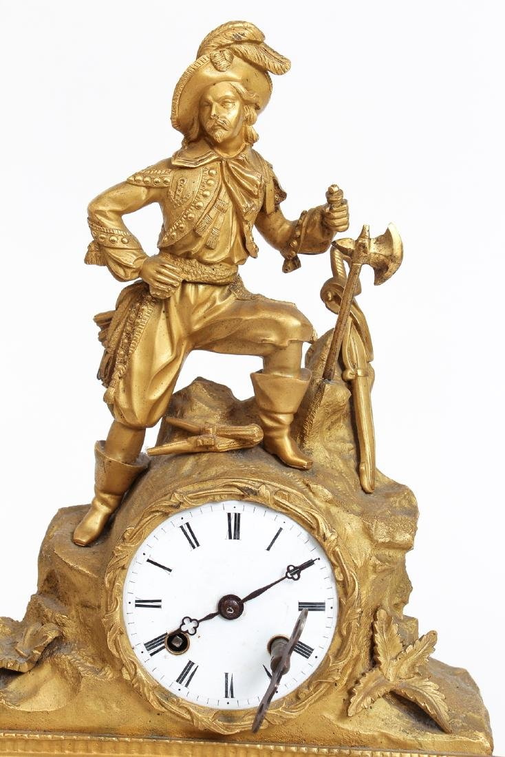 Dore Bronze French Mantle Clock with a Buccaneer - 8