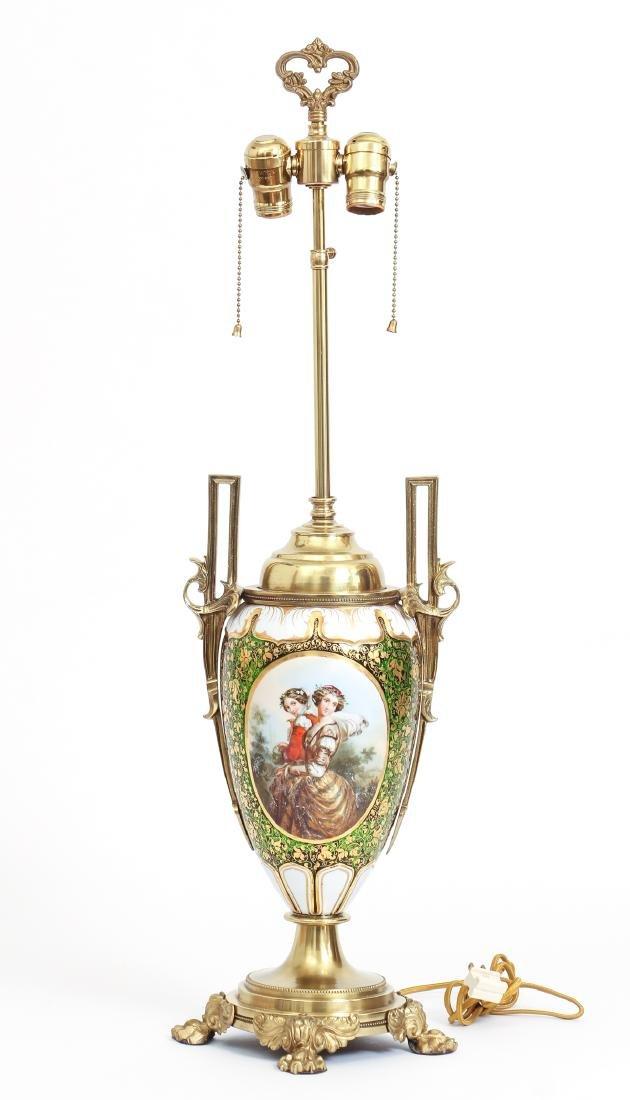 Antique Bohemian Enamel and Cut Glass Vase as Lamp